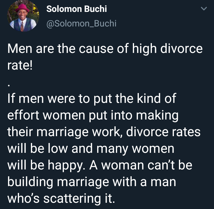 Nigerian man says men are the cause of high divorce rate. See his reasons