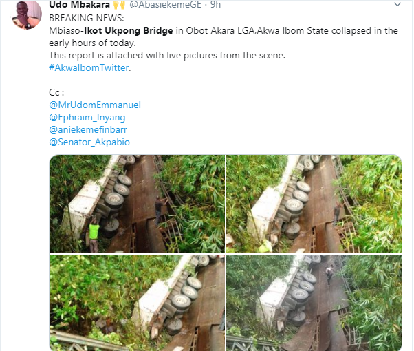 Mbiaso-Ikot Ukpong Bridge in Akwa Ibom State collapses (photos)