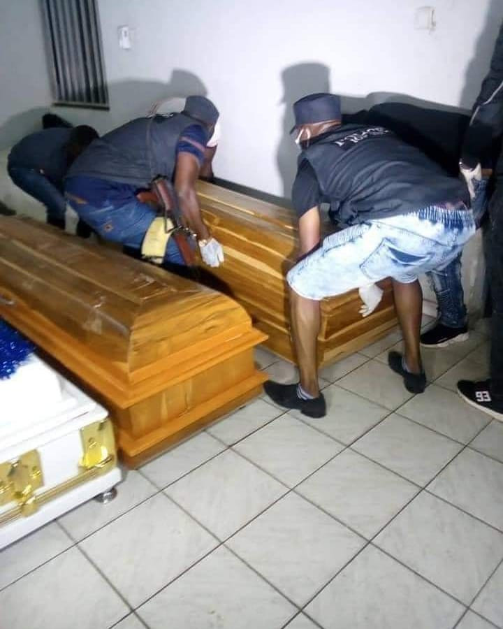 Photos: Bodies of 3 policemen killed in Taraba by soldiers arrive Abuja