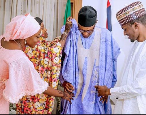 Sallah: Lovely photo of President Buhari and his children