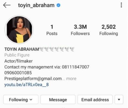 Actress, Toyin Abraham deletes