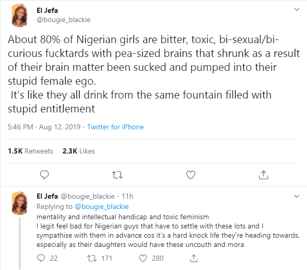 About 80% of Nigerian girls are bitter and toxic bisexuals - Twitter user
