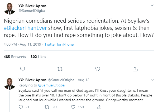 Nigerian man explains why Nigerian comedians need reorientation, slams comedians who performed at Seyi Law