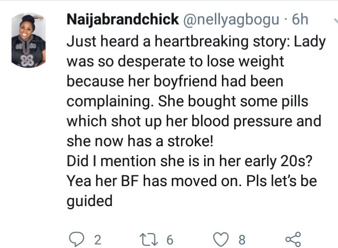 Twitter stories: Young lady who took pills to lose weight for her boyfriend suffers stroke and the boyfriend has moved on