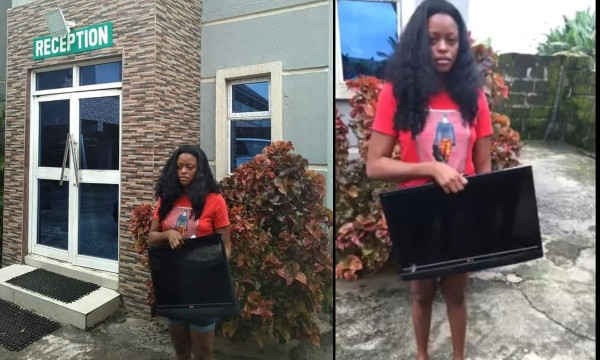 Lady nabbed after stealing a hotel's plasma TV in Delta
