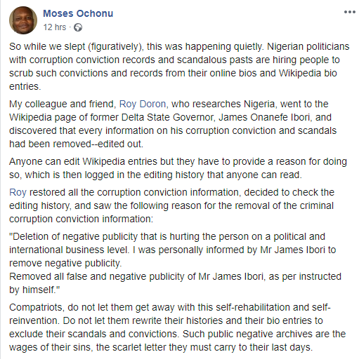 Nigerian Professor calls out politicians hiring people to remove their corruption convictions from their online bios and Wikipedia