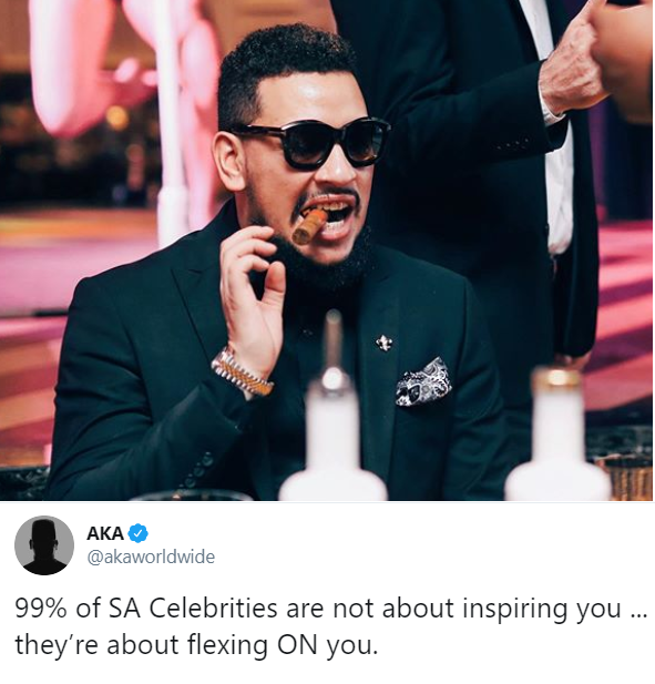 99% of SA Celebrities are not about inspiring you, they're about flexing on you - Rapper, AKA