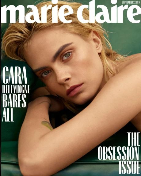 English supermodel,?Cara Delevingne?poses completely nude on the cover of Marie Claire magazine