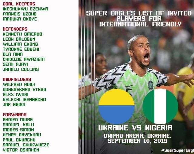 Full List:?Super Eagles coach, Gernot Rohr recalls?Kelechi Iheanacho for Nigeria