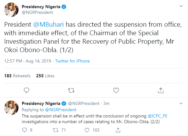 Buhari suspends Chairman of Special Investigation Panel, Obono-Obla
