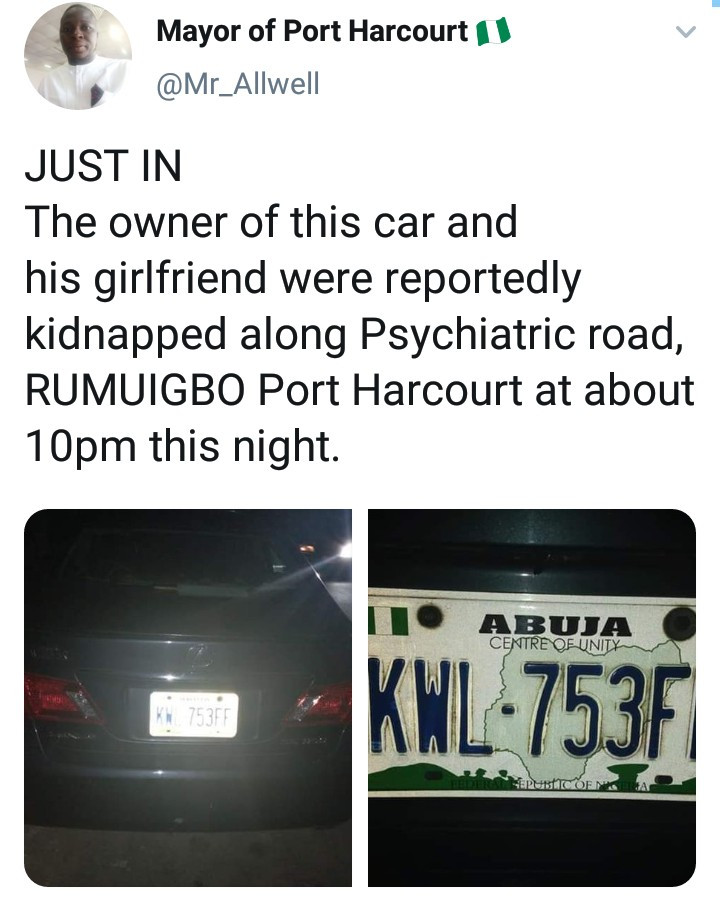 Man and his girlfriend reportedly kidnapped along Psychiatric road in Port Harcourt