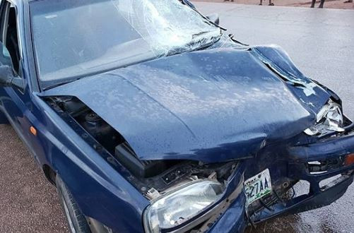 Nigerian comedian, Klint Da Drunk survives?terrible car crash along?Bauchi-Jos express road (Photos)