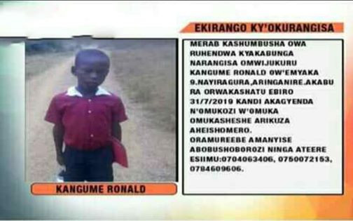 Photos: Police recovers body of 8-year-old boy kidnapped and murdered in Uganda
