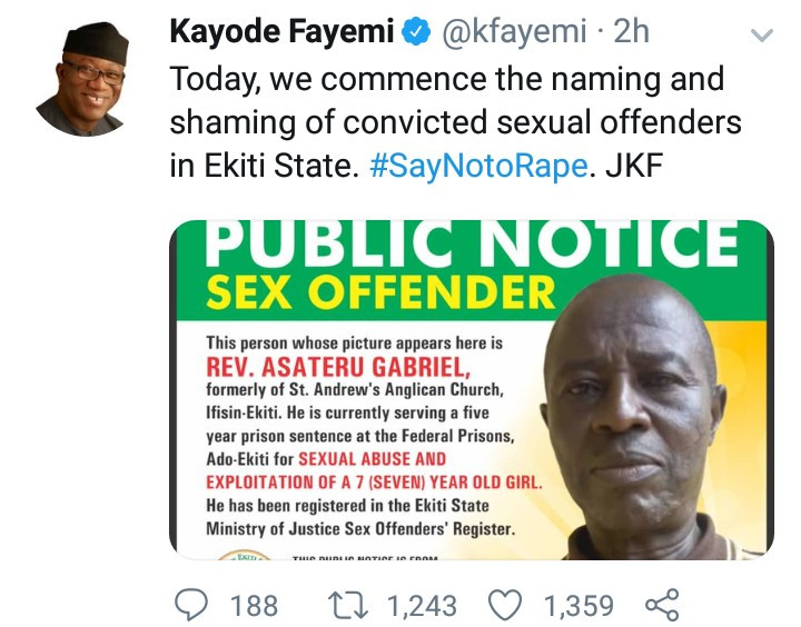 Governor Kayode Fayemi commences the naming and shaming of convicted sex offenders on Twitter
