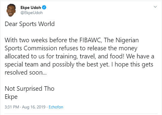 2019 FIBAWC: Nigeria?s men?s basketball team accuse NSC of refusing to release funds allocated them for preparation