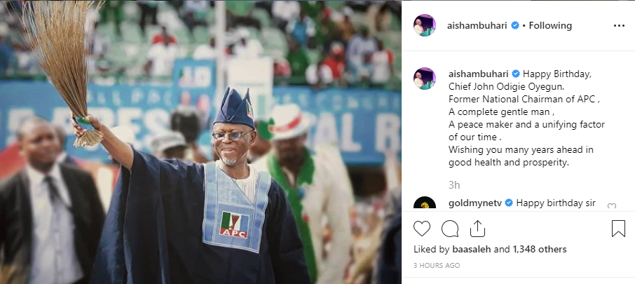 Aisha Buhari shakes a major table with her birthday message to John Odigie-Oyegun
