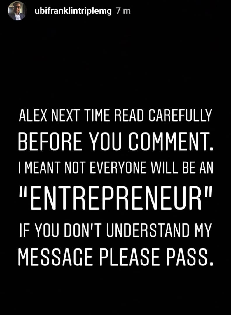 Ubi Franklins calls out Alex Ekubo on IG