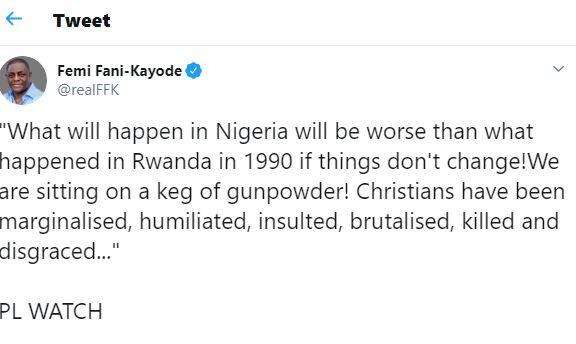 Nigeria is sitting on a keg of gunpowder ? Femi Fani-Kayode