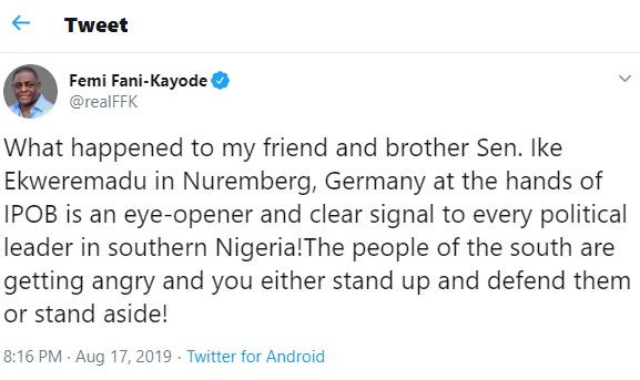 What happened to Ike Ekweremadu in Germany at the hands of IPOB is an eye-opener, the people of the south are getting angry - FFK