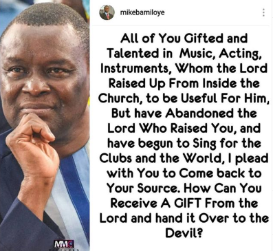 Table shaker! Pastor calls out Secular musicians who started from and later left the Church