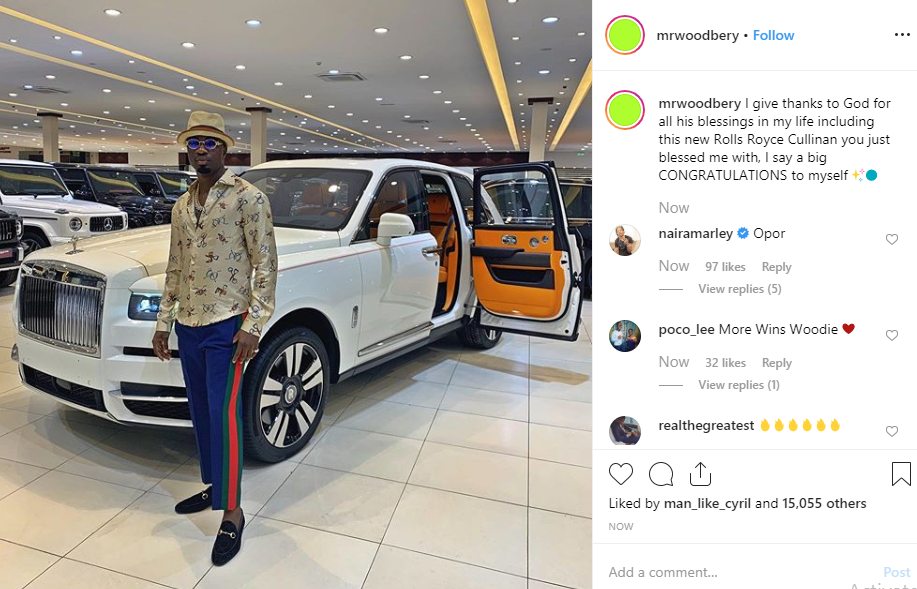 Nigerian big boy Mr Woodbery buys a $325k (N117m) 2019 Rolls Royce Cullinan (video)