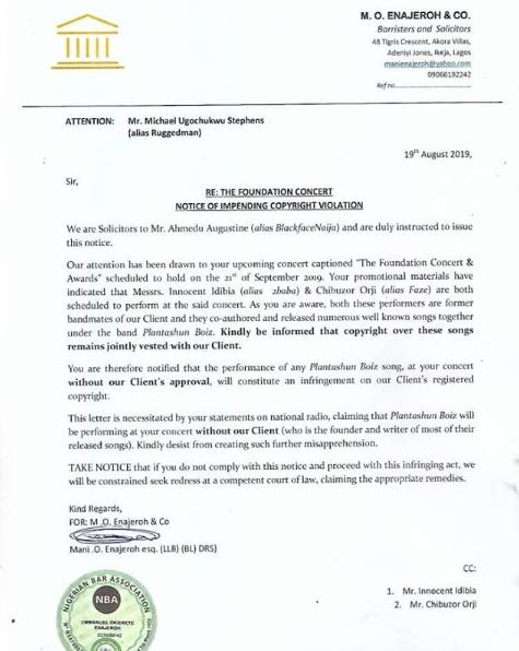 Blackface warns 2face, Faze and Ruggedman against performing Plantashun Boiz songs, serves copyright notice