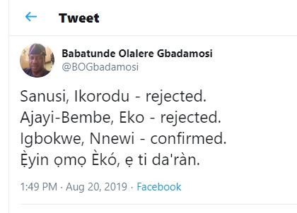 Lagosians are in trouble - Former Governorship aspirant, Babatunde Gbadamosi reacts to Joe Igbokwe