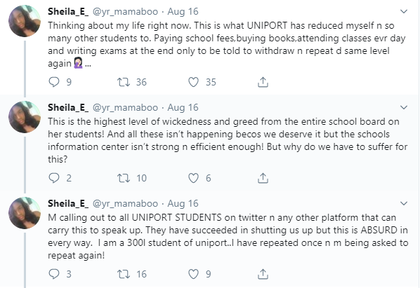 UNIPORT students cry out after being asked to repeat a level over inability to register courses online