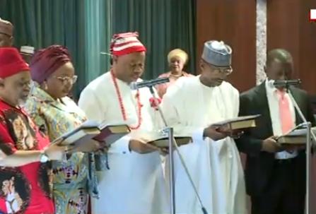 Ministerial swearing-in ceremony kicks off as Ogah, Bello, Akpabio, Keyamo, Ngige, Ikeazu take oath of allegiance