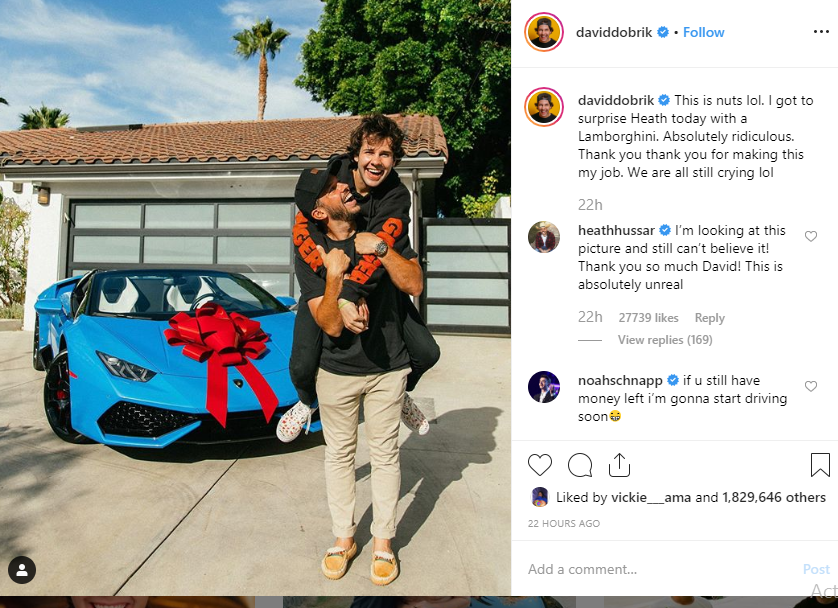 YouTuber David Dobrik, surprises friend with Lamborghini gift