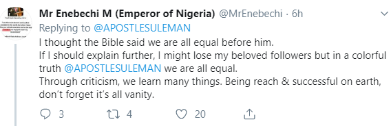 Twitter users accuse Apostle Suleman of being arrogant after he tweeted about equality on social media