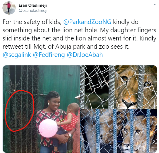 Nigerian mum calls for rehabilitation of Abuja Children Zoo following incident with a lion and her daughter (photos)