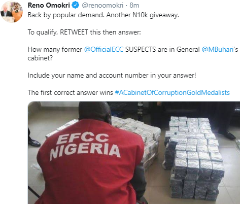 See Reno Omokri's hilarious giveaway question