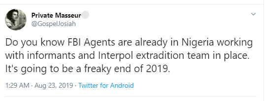 5d5fd9db50b7f - Twitter User Says FBI Agents Are Currently In Nigeria To Nab More Fraudsters