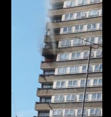 Firefighters battle to save lives as fire breaks out in block of flats next to Grenfell tower