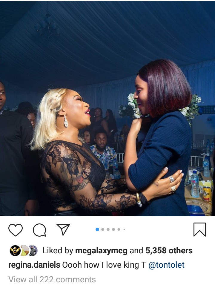 """""""How I love King T"""" Regina Daniels gushes after meeting Tonto Dikeh at an event"""