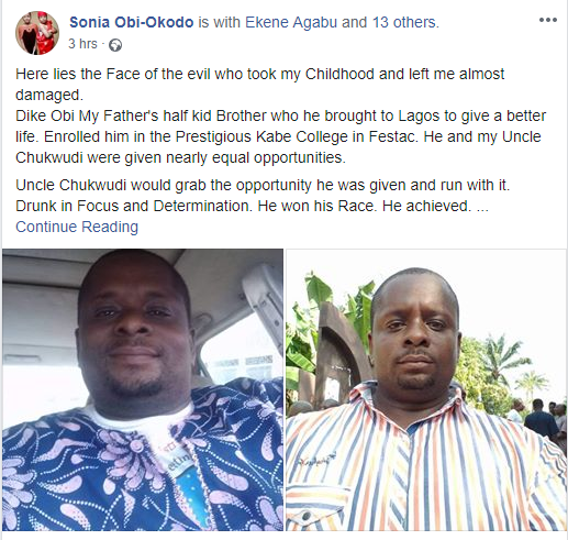 Activist, Sonia Obi-Okodo calls out her half-uncle who she alleged sexually abused her