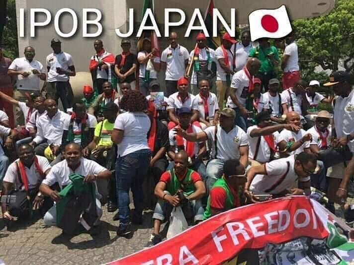 Photos of protesting IPOB members waiting for President Buhari in Japan