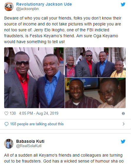 Festus Keyamo reacts to trending photo of himself and one of the 77 Nigerians arrested by the FBI for online fraud