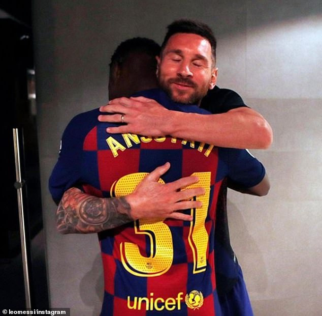 Lionel Messi congratulates 16-year-old Ansu Fati from Guinea-Bissau after he became the youngest player to start for Barcelona since 1941 (Photos)
