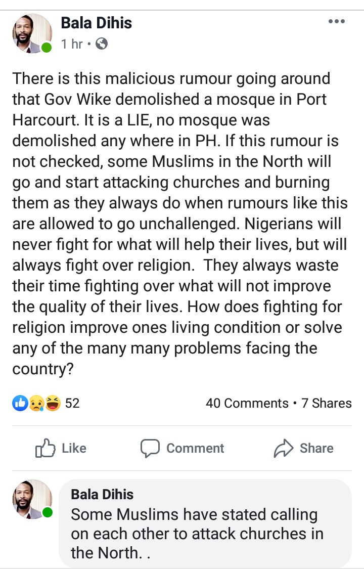 Nigerian writer Gimba Kakanda accused of religious bigotry after his report on alleged demolition of a mosque led Muslims to threaten reprisal attacks