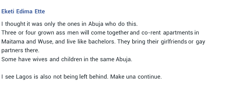 Women expose married men in Nigeria who co-rent apartments where they take turns living like bachelors with their girlfriends or gay partners