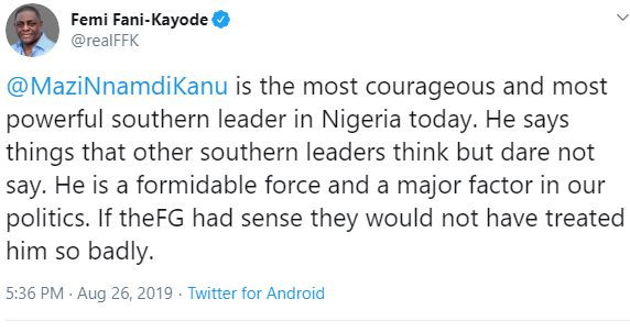Nnamdi Kanu is the most courageous and most powerful southern leader in Nigeria today - FFK