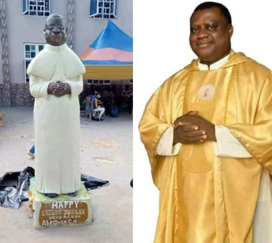 See the stature Ebonyi catholic parishioners made of their Reverend Father that's got everyone talking (photos)
