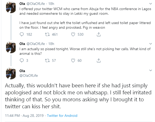 Nigerian man calls out lady that left his toilet unflushed