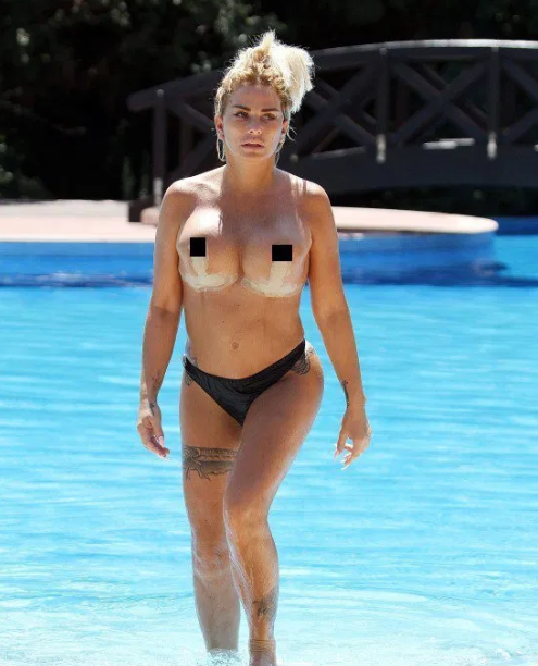 Katie Price swims topless with fianc? Kris Boyson