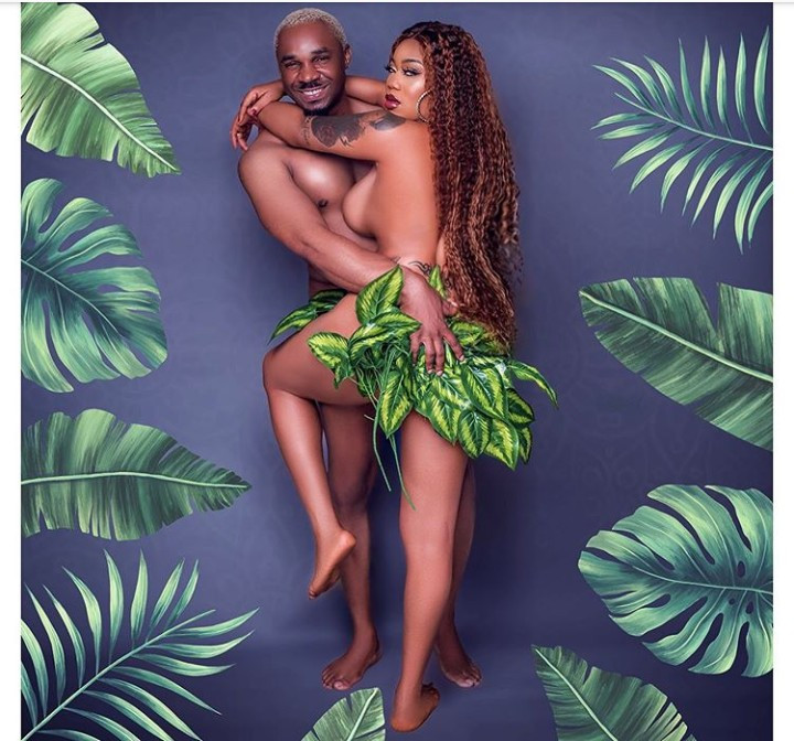 Toyin Lawani and Pretty Mike pose nude together in Adam and Eve inspired photo shoot