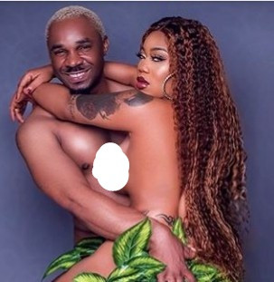 Toyin Lawani and Pretty Mike pose n*de together in Adam and Eve inspired photo shoot