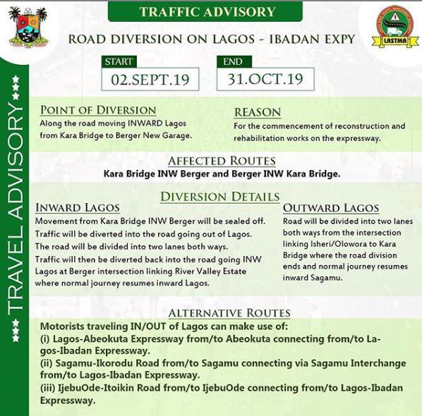 #TrafficAdvisory: Partial closure of Lagos-Ibadan expressway will last till October 31st -?LASTMA
