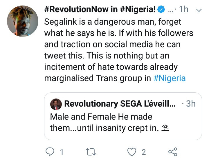 "Bisi Alimi slams human rights activist Segalink for saying we were created ""male and female"" until ""confusion set in"""
